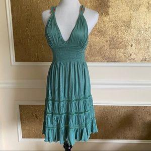 FREE PEOPLE green viscose mini dress XS